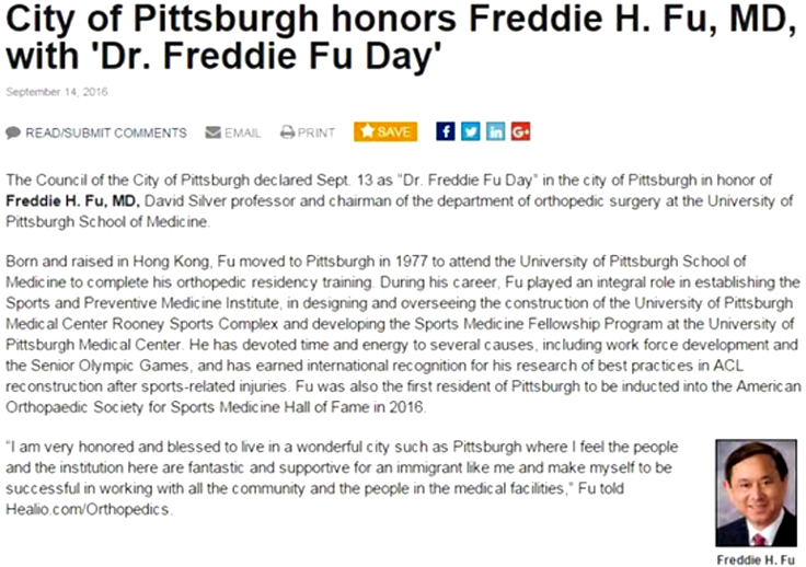 "September 13—""Dr  Freddie Fu Day"" in the city of Pittsburgh"